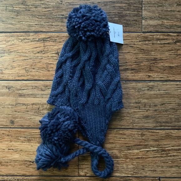 51d29a092 Navy Blue Knit Pom Pom Beanie Hat Boutique